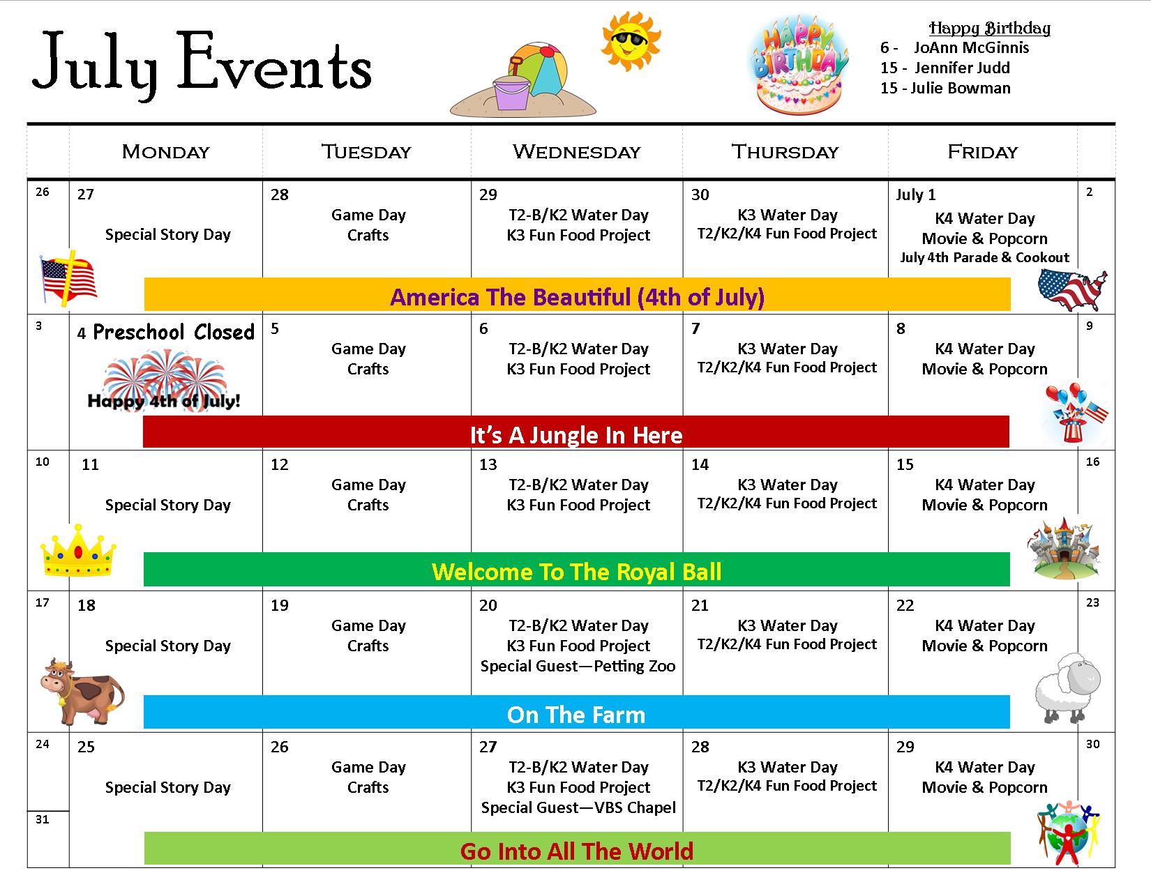 7 July Event Calendar